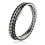 Braided Leather Magnetic Buckle Bracelet Men Jewelry