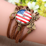 Brown Butterfly Infinity Galaxy Time Gem Multilayer Leather Bracelet