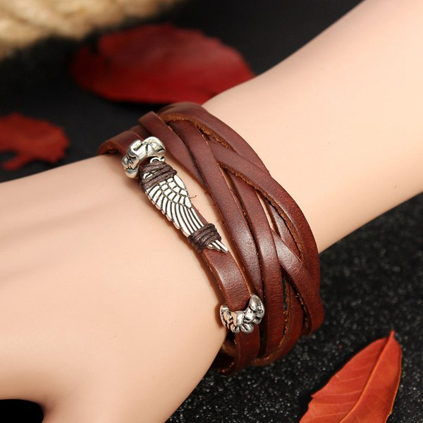 Brown Punk Angel Wing Charm Twist Leather Rope Bracelet Men Jewelry