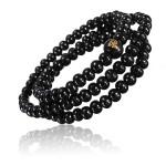 Buddhist Buddha Multi Chain Black Bead Bracelet Necklace