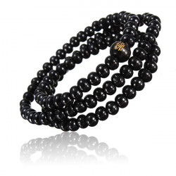 Buddhist Buddha Multi Chain Black Bead Bracelet Necklace