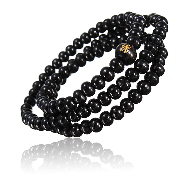 Buddhist Buddha Multi Chain Black Bead Bracelet Necklace Men Jewelry