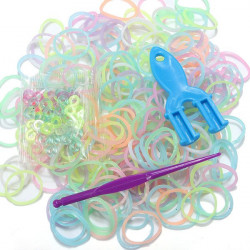 DIY Colorful Jelly Rubber Bands Loom Making Knit Set Clip Hook Refill