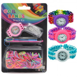 DIY Kid Craft Colorful Rubber Loom Bands Watch Bracelet Kit