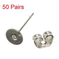 DIY Stainless Steel Earring Pin Blank Ear Stud Jewelry Findings