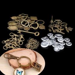 DIY Vintage Bronze Imitation Time Gemstone Keychain Key Ring