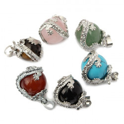 Dragon Wrap Natural Stone Quartz Bead Necklace Pendant DIY Jewelry