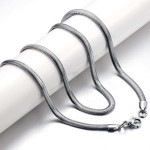 Exquisite Men Titanium Steel Oblate Flat Snake Chain Necklace Men Jewelry