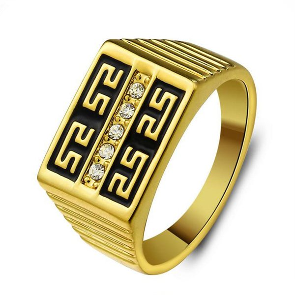 Gold Plated Great Wall Rhinestone Engraved Men Ring Men Jewelry