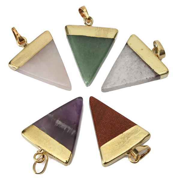 Gold Plated Triangle Natural Stone Quartz Necklace Pendant Jewelry Design & Repair