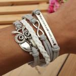 Grey Owl Multilayer Bracelet Infinite Symbol Leather Alloy Bracelet Men Jewelry