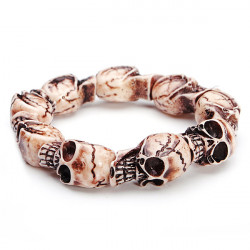 Halloween Punk Resin Skull Elastic Bracelet Jewelry For Men