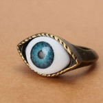 Halloween Vintage Punk Bronze Evil Eye Ring Eyeball Finger Ring Men Jewelry