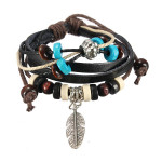 Handmade Leaf Feather Wooden Bead Pendant Cord Leather Surfer Bracelet Men Jewelry
