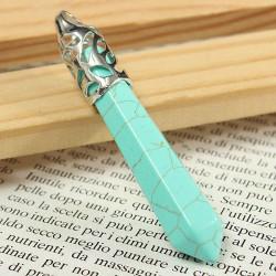 Hexagonal Pendulum Gemstone Column Necklace Pendant DIY Jewelry