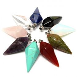 Hexagonal Pyramid Natural Stone Crystal Quartz Necklace Pendant
