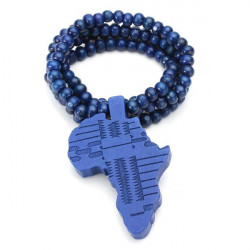 Hip Hop Africa Map Wood Beads Pendant Long Chain Necklace Unisex