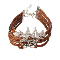 Infinite Bird Tree Multilayers Bracelet Braided Leather Men Bracelet