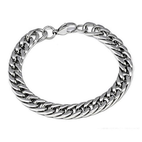 Korean Sliver Titanium Steel Thick Chain Bracelet Men Jewelry Men Jewelry