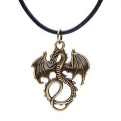 Leather Rope Bronze Dragon Pendant Necklace Vintage Jewelry