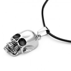 Leather Rope Stainless Steel Skull Pendant Necklace For Men