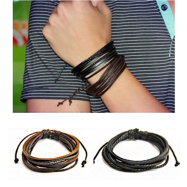 Leather Woven Rope Bracelet Men Jewelry