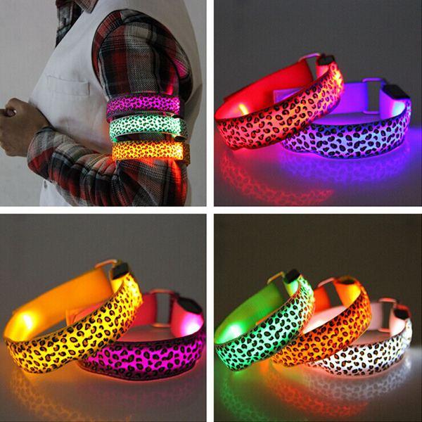 Leopard Print Running Gear Glowing LED Arm Band Lights Flash Bracelet Men Jewelry