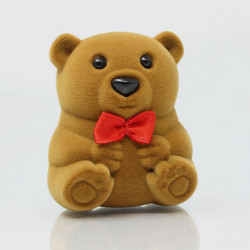 Lovely Bear Shaped Velvet Ring Earring Jewelry Box Gift Case