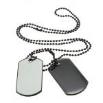 Men Army Style White And Black 2 Dog Tag Pendant Necklace Men Jewelry