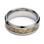 Men Gold Tungsten Dragon Scroll Inlay Band Finger Ring Men Jewelry
