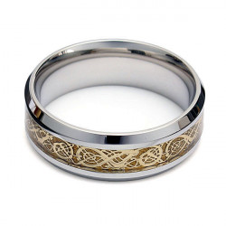 Men Gold Tungsten Dragon Scroll Inlay Band Finger Ring