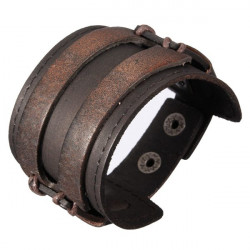 Men Punk Double Wide Leather Metal Buckle Cuff Wristband Bracelet