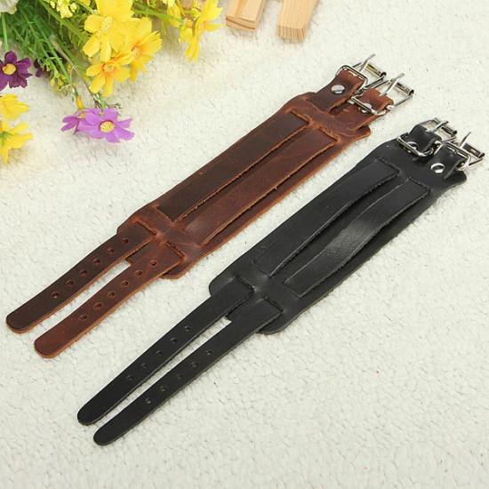 Men Punk Leather Bracelet Wristband Cuff Bangle 2 Layer