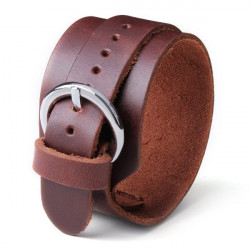 Men Punk Loop Wide Wristband Button Leather Cuff Bangle Bracelet