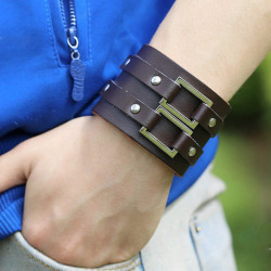 Men Punk Rivet Double Metal Rectangle Wide Leather Bracelet