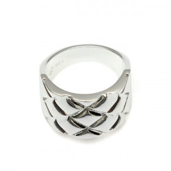 Men Silver Plated Grid Square Texture Finger Ring Jewelry