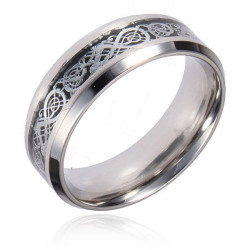 Men Sliver Tungsten Dragon Scroll Inlay Band Finger Ring