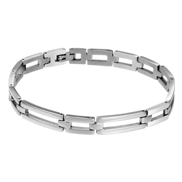 Mens Silver Titanium Steel Watch Band Shape Bracelet Glaze Jewelry Men Jewelry