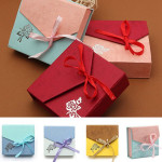 Mixed Color Ribbon Bowknot Square Cardboard Bracelet Jewelry Box Case Jewelry Supplies