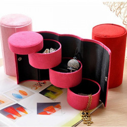 Multicolor 3 Layers Round Ring Earrings Jewelry Storage Gift Box