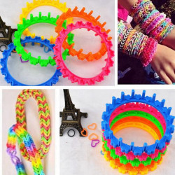 Multicolor DIY Rubber Bands Bracelet Round Making Knit Loom Weaver