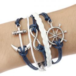 Multilayer Anchor Rudder Infinite Symbol Handmade Leather Bracelet
