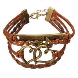 Multilayer Love Heart Letters Bracelet Unisex Leather Bracelet