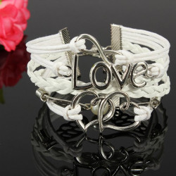 Multilayer White Love 8 Heart Wings Pearl Leather Bracelet