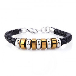 Nine Titanium Steel Circle PU Leather Weave Bracelet Men Jewelry