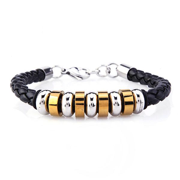 Nine Titanium Steel Circle PU Leather Weave Bracelet Men Jewelry Men Jewelry