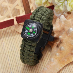 Outdoor Emergency Survival Paracord Bracelet Compass Whistle Bracelet