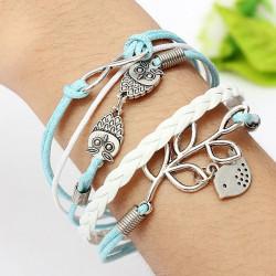 Owl Leaf Bird Multilayer Bracelet Infinite Symbol Leather Bracelet