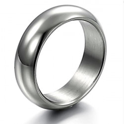 Polish Stainless Steel Mens Ring Jewelry Silver Wedding Band
