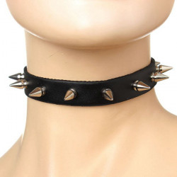 Punk Black Leather Spike Rivet Buckle Choker Collar Necklace Unisex
